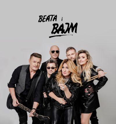 Zespół składający się z czterech mężczyzn i dwóch kobiet. U góry napis Beata i Bajm.